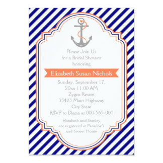 Navy blue, coral nautical wedding bridal shower 5x7 paper invitation card