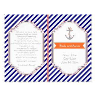 Navy blue, coral nautical wedding program
