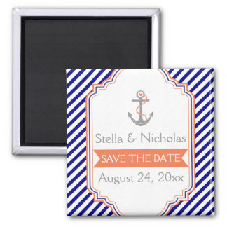 Navy blue, coral nautical wedding Save the Date 2 Inch Square Magnet