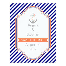 Navy blue, coral nautical wedding Save the Date 4.25