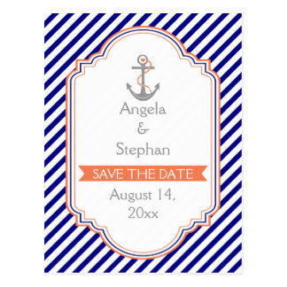 Navy blue, coral nautical wedding Save the Date Postcard