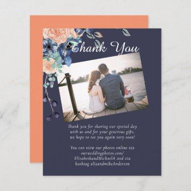 Navy Blue Coral Orange Wedding Thank You