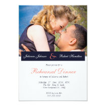 Navy Blue Coral Photo Rehearsal Dinner Invitation