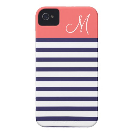 Navy Blue & Coral Preppy Stripes Custom Monogram Case-Mate iPhone 4 Cases
