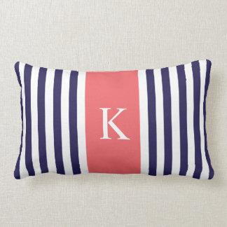 Navy Blue Coral Stripes Monogram Lumbar Pillow