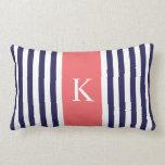 Navy Blue Coral Stripes Monogram Pillows