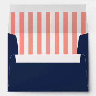 Navy Blue/Coral Stripes Nautical Beach Envelope
