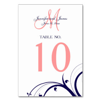 Navy Blue Coral Swirls Wedding Table Number Card