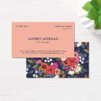 Navy Blue & Coral - Vibrant Boho Floral Pattern Business Card