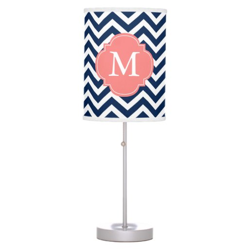 Navy Blue & Coral Zigzags Pattern Monogrammed Desk Lamp