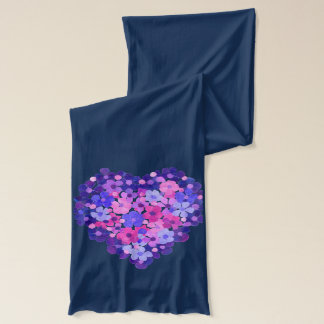 Navy Blue Cotton Scarf: Pink Blue Floral Heart Scarf