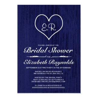 Navy Blue Country Bridal Shower Invitations