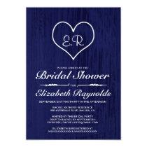Navy Blue Country Bridal Shower Invitations Invite