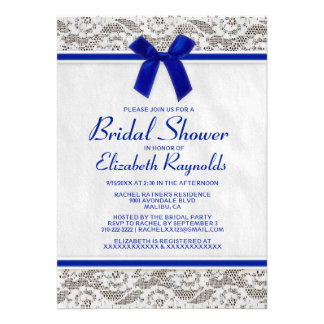 Navy Blue Country Lace Bridal Shower Invitations Invitation