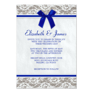 Navy Blue Country Lace Wedding Invitations 5