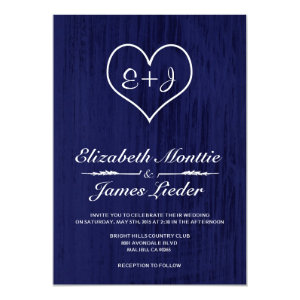 Navy Blue Country Wedding Invitations 5
