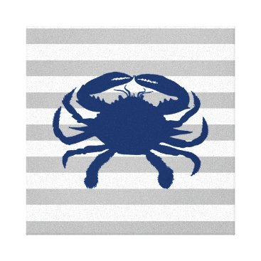 Beach Themed Navy Blue Crab Gray and White Stripes Canvas Print