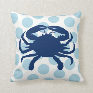 Navy Blue Crab Light Blue Polka Dot Throw Pillow