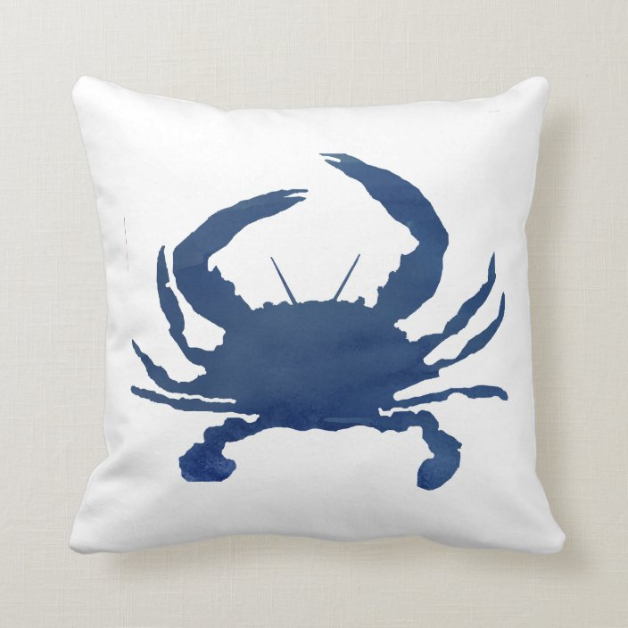 Navy Blue Crab Painting Silhouette Beach Pillow Zazzle Com