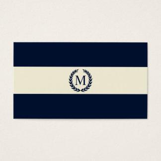 Navy Blue & Cream Stripe Monogram Business Card