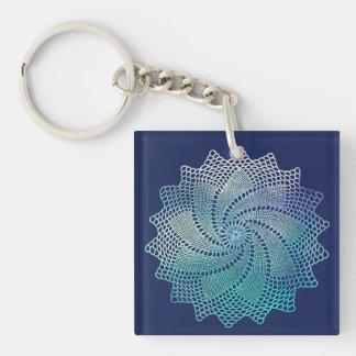 Navy Blue Crochet Lace Doily Keychain