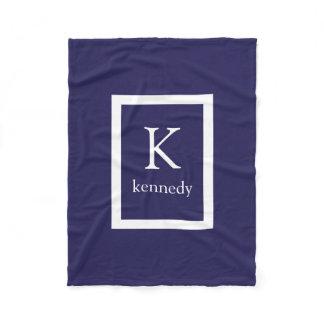 Navy Blue Custom Monogram Name Fleece Blanket