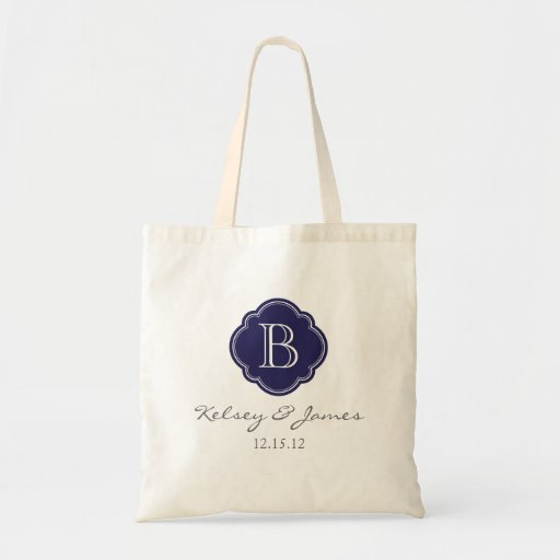 Navy Blue Custom Monogram Wedding Favor Tote Canvas Bag