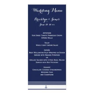 Navy Blue Custom Nautical Wedding Menu Cards Personalized Rack Card
