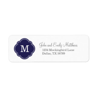 Navy Blue Custom Personalized Monogram Label