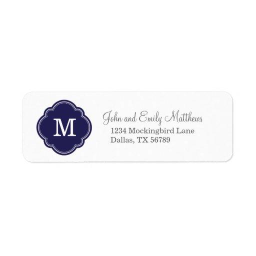 Navy Blue Custom Personalized Monogram Return Address Labels