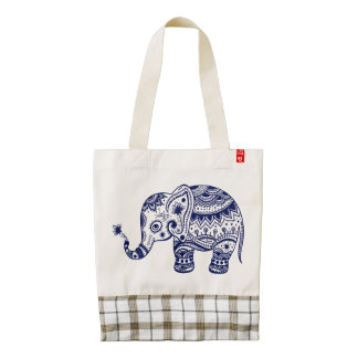 Navy Blue Cute Floral Elephant Zazzle HEART Tote Bag