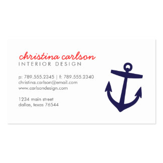 Navy Blue Cute Nautical Anchor & Stripes Double-Sided Standard Business Cards (Pack Of 100)