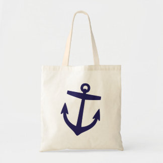 Navy Blue Cute Preppy Nautical Anchor Tote Bag