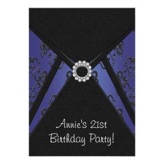 Navy Blue Damask 21st Birthday Party Invitation