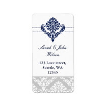 """navy blue"" damask address labels"