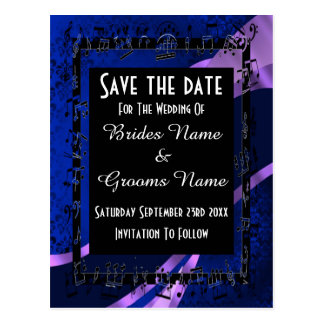 Navy blue damask and black save the date postcard