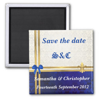 Navy blue damask and gold ribbon save the date magnet