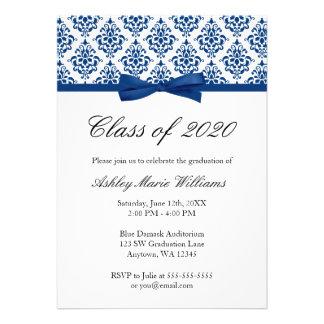 Navy Blue Damask Bow Graduation Announcement