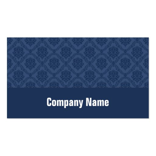 Navy Blue Damask Double-Sided Standard Business Cards (Pack Of 100)