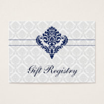 """navy blue""  damask Gift registry  Cards"