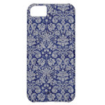 Navy Blue Damask iPhone 5C Covers