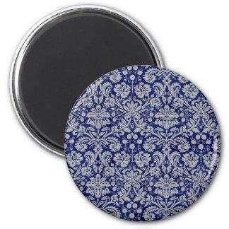 Navy Blue Damask Magnet