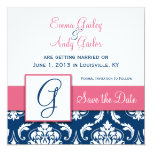 Navy Blue Damask Monogram G Save the Date Pink Card
