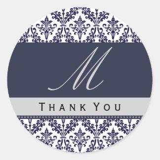 Navy Blue Damask Monogram Wedding THANK YOU St Classic Round Sticker