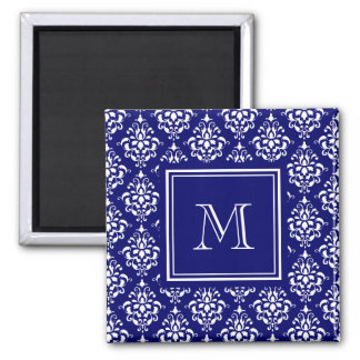 Navy Blue Damask Pattern 1 with Monogram 2 Inch Square Magnet