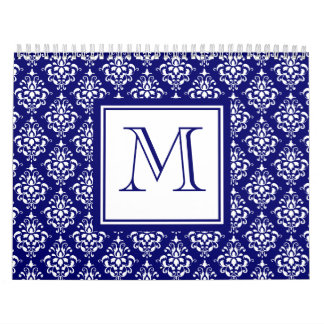 Navy Blue Damask Pattern 1 with Monogram Wall Calendar