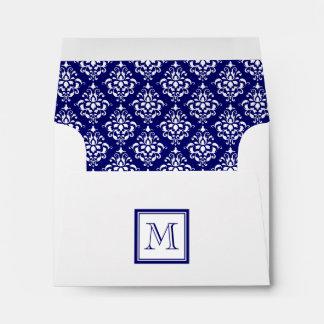 Navy Blue Damask Pattern 1 with Monogram Envelope
