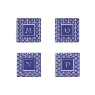 Navy Blue Damask Pattern 1 with Monogram Stone Magnet