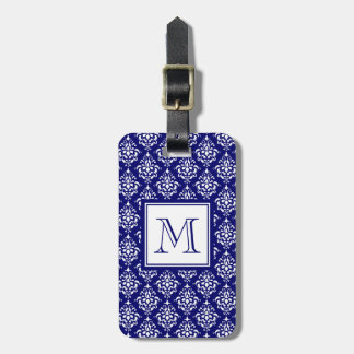 Navy Blue Damask Pattern 1 with Monogram Luggage Tag