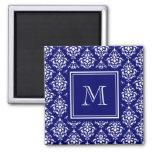 Navy Blue Damask Pattern 1 with Monogram Refrigerator Magnets